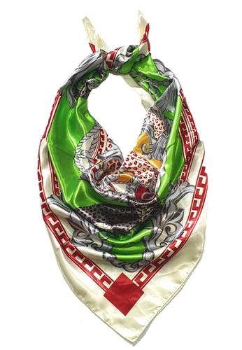San Marco green and multi Pardine Poly-Satin Square Scarf Green 1D008AAA743C6DGS_1