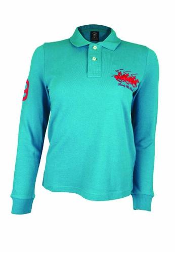 Beverly Hills Polo Club blue BHPC Women Polo Long Sleeve Shirt A9876AA19ECAC3GS_1