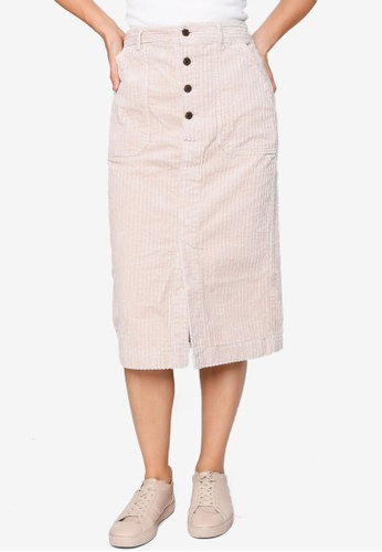 Heather white Woven Midi Skirt DD5A1AAF6590CAGS_1