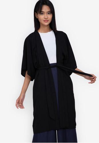 ZALORA BASICS black Longline Kimono Jacket with Sash A8C74AA9CAB9BDGS_1