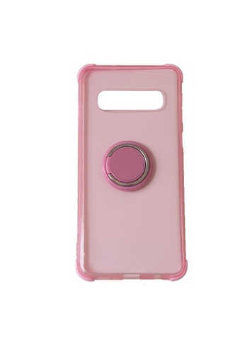MobileHub pink Samsung S10 Plus Silicone Clear Case with X-Ring 85377AC0A8A929GS_1