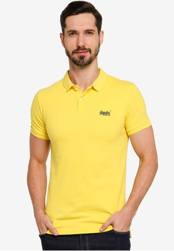 Superdry yellow Classic Pique Short Sleeve Polo Shirt 227FCAAC2C6219GS_1