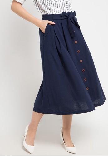 Le'Rosetz navy Blue Linen Flare Skirt 5B01BAA6FE9968GS_1