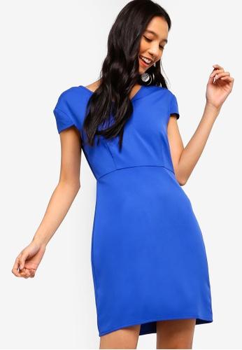 ZALORA blue Wide V-Neck Cap Sleeves Dress 60C38AA1735224GS_1