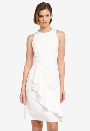 ZALORA white Technical Drape Dress 1EE2BAACCD4306GS_1