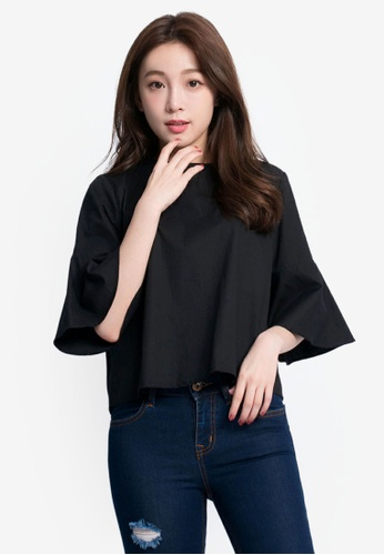 Tokichoi black Bell-Sleeved Basic Blouse TO550AA0RKETMY_1