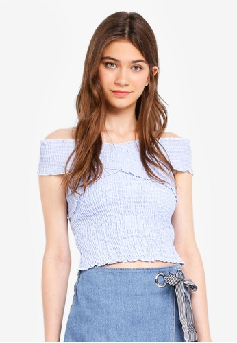 48a861c7c9bf5 Kitschen blue Smocked Off Shoulder Top EE767AA9D8DCAFGS 1