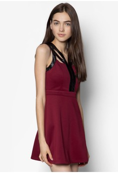 PU Straps Overlay Fitted Dress