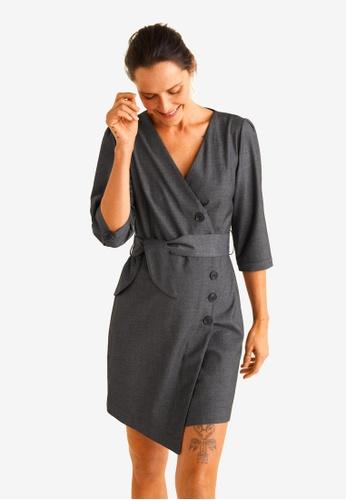 Mango grey Belt Wrap Dress 45EF5AA069C237GS_1