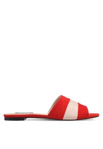 ZALORA 紅色 雙色撞色涼鞋 E1394SHC985CEBGS_1