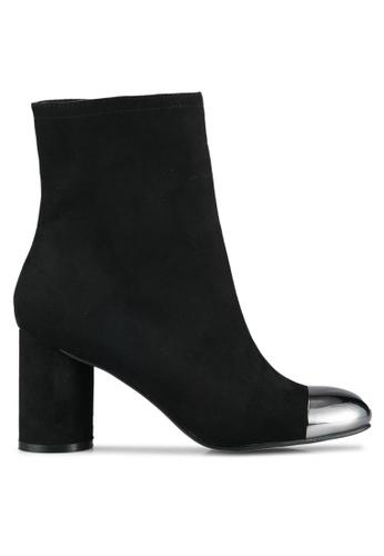 ZALORA 黑色 金屬拼接粗跟踝靴 894A3ZZ4A24DF2GS_1