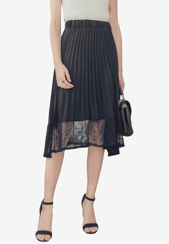 Yoco black Chiffon Lace Mesh Pleated Skirt 1320DAA4AE8DADGS_1