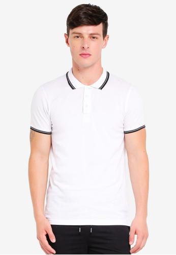 Brave Soul white Pique Polo Shirt E5352AA7EADCCBGS_1