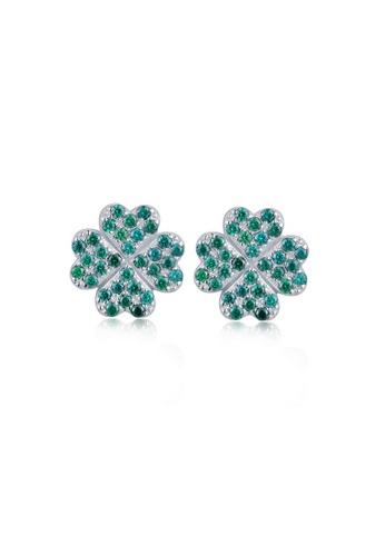 MBLife silver 925 Sterling Silver Green CZ Clover Stud Earrings BEBA9AC3D08041GS_1