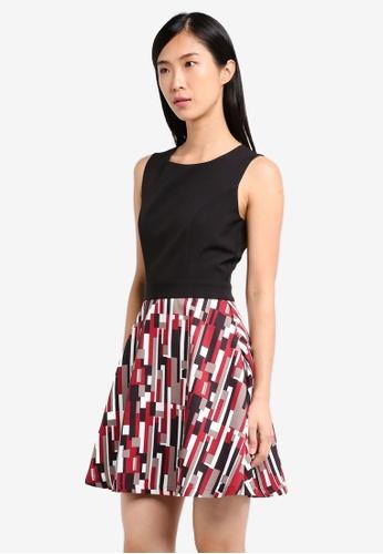 ZALORA black and red Fit and Flare Print Dress E4305AAFA9BAFCGS_1