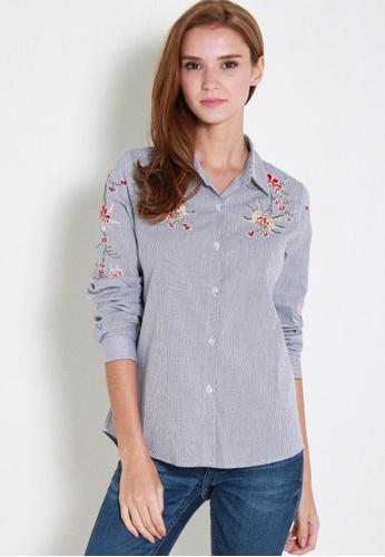 Leline Style blue Tiva Embroidery Shirt LE802AA16SQPSG_1