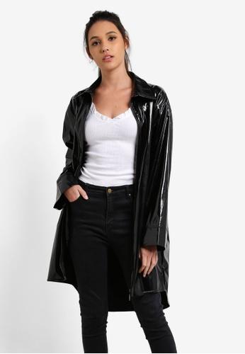 Something Borrowed black Oversized Patent Jacket 9AD71AAEA5B5D1GS_1