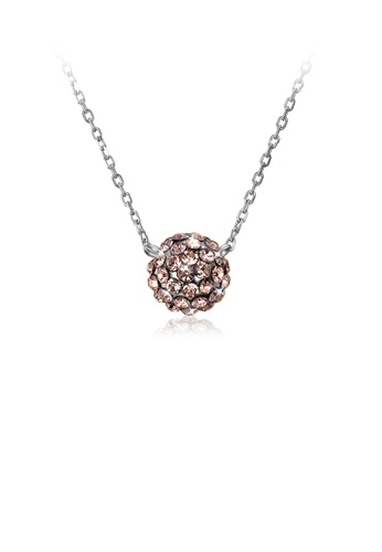 Glamorousky gold 925 Sterling Silver Fashion Simple Round Pendant with Champagne Austrian Element Crystal and Necklace 48C8AACE0697D3GS_1