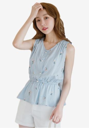 Eyescream blue Floral Embroidery Peplum Top 43513AAF746861GS_1
