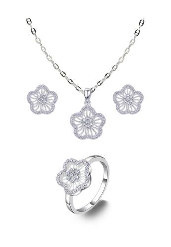 SC Tom Silver silver Flower Ladies Jewelry Set SC872AC0JO28PH_1