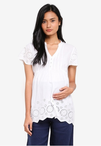 JoJo Maman Bébé white Maternity Embroidered Blouse FC5BAAA6BBB047GS_1