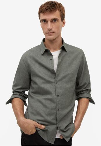Mango Man green Slim Fit Flecked Cotton Shirt A0F80AA06FD729GS_1