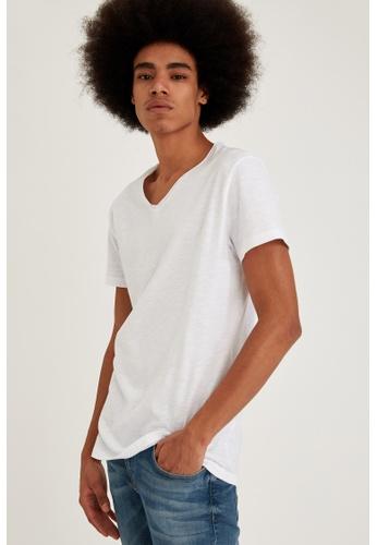 DeFacto white Man Knitted T-Shirt AFA4AAA7C618D9GS_1