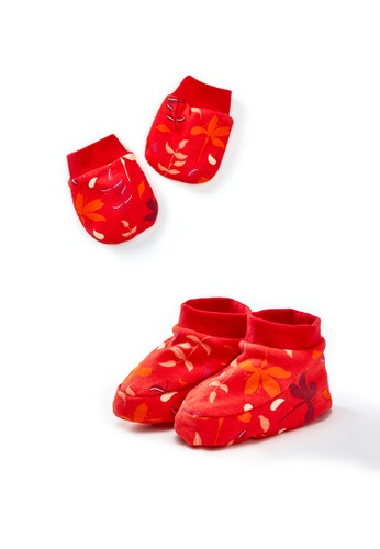 Vauva red Vauva My-My Babies Leaves Gloves and Socks Set - Red C052EKC73D7DD7GS_1