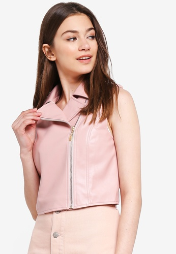 Something Borrowed pink Faux Leather Vest F2602AACDDAD9DGS_1