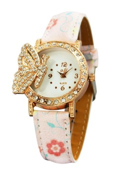 OLJ Golden Butterfly Leather Strap Watch B1679