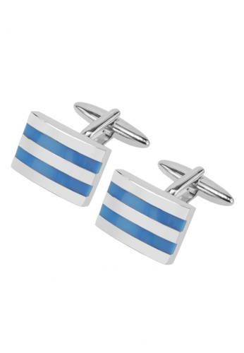 CUFF IT blue Double Light Blue Enamel Cufflinks CU047AC11SKUHK_1