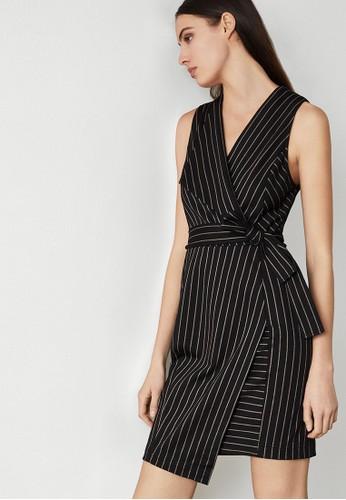 BCBG Max Azria black Pinstripe Crossover Dress E0D06AA5651913GS_1