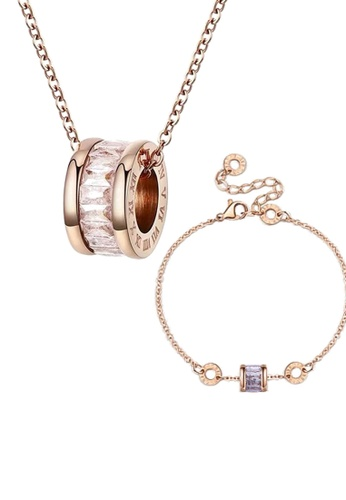CELOVIS white and gold CELOVIS - Océane White Cryolite with Roman Numeric Necklace + Bracelet Set B4437AC05EB9E0GS_1
