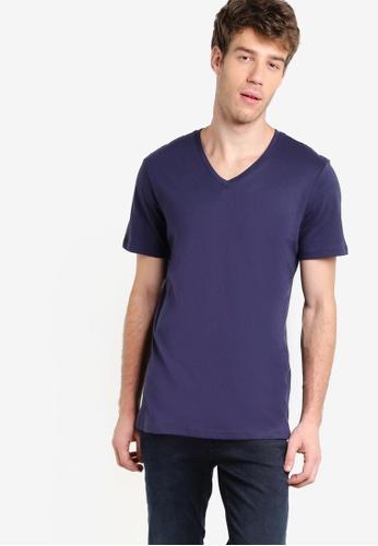 Burton Menswear London navy Navy V-Neck T-Shirt BU964AA26BHTMY_1