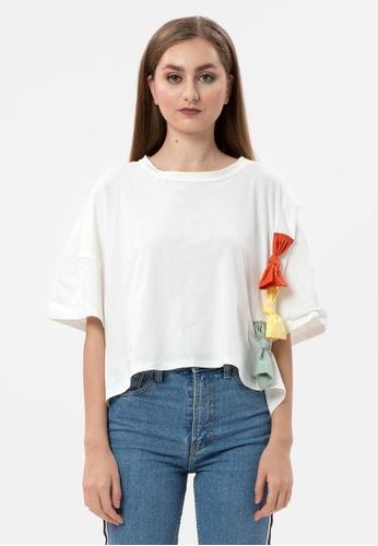MKY Clothing 白色 MKY Colorful Ribbon Batwing Blouse 3978DAA0D0B526GS_1