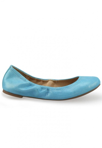 Shu Talk blue Metallic Sheepskin Suede Round Toe Ballet Flats SH397SH0FPIJSG_1