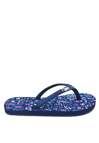 Ripples blue and multi Livia Floral Flip Flops RI425SH0FVHMSG_1