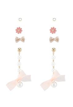 Red S Revenge Pink 4 In 1 Bow Tiful Dangle Studs Earrings Set
