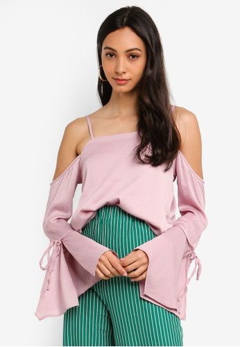 Glamorous pink Cold Shoulder Top 24E75AA62482EDGS_1