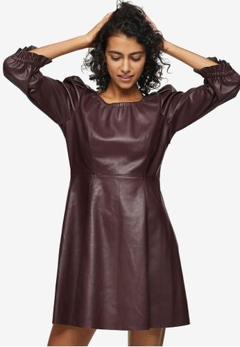 TOPSHOP red PETITE Burgundy PU Elastic Neck Mini Dress 33055AAAC8D349GS_1