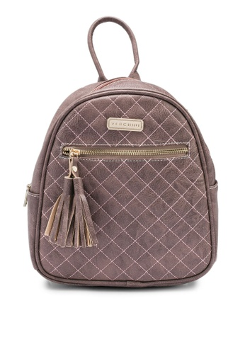 Verchini brown Single Color Casual Backpack 14545AC0A9D962GS_1