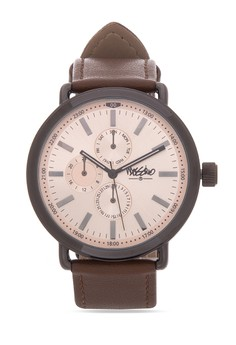 Saint Barts Unisex Leather Strap Watch MS1520GBrn