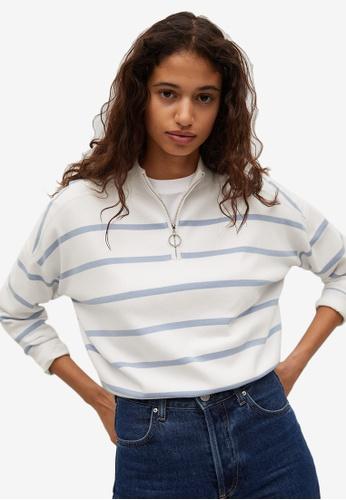 Mango blue Striped Sweater With Zip B8A13AA9ED18D0GS_1