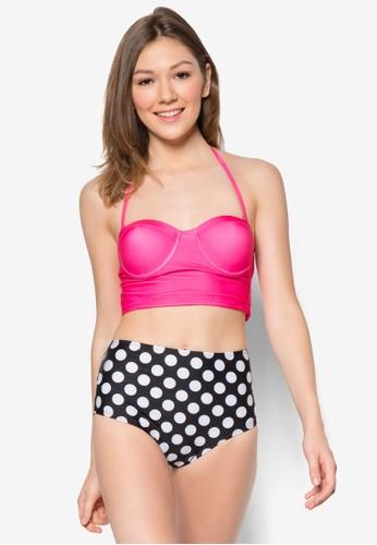 Nadya 短版高腰比基尼套裝, zalora 泳衣服飾, 泳裝