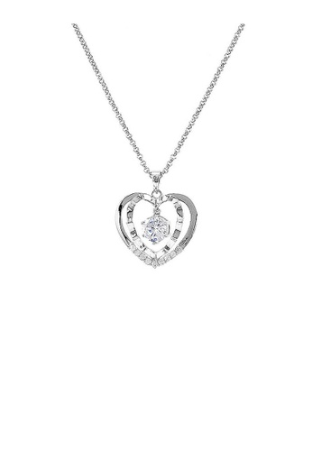 Glamorousky silver Glistering Heart Pendant with Sliver Austrian Element Crystal and Necklace CA5F9ACAD09E43GS_1