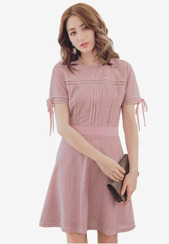 YOCO pink Lace Cut-Out Skater Dress 522A3AAFEAB1A5GS_1