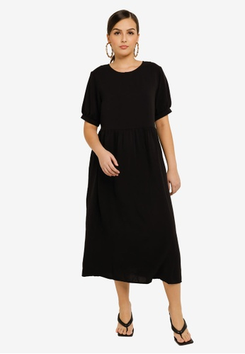 MISSGUIDED black Puff Sleeve Smock Dress 4A537AA70D725EGS_1