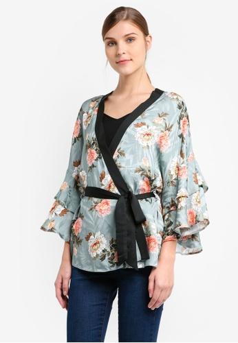 TOPSHOP green Printed Frill Kimono TO412AA0T0W1MY_1