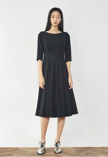 褶飾及膝連身裙, 服飾, zalora 衣服尺寸洋裝