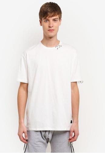 Flesh IMP white Round Ring Box Cut T-Shirt FL064AA0RTOLMY_1